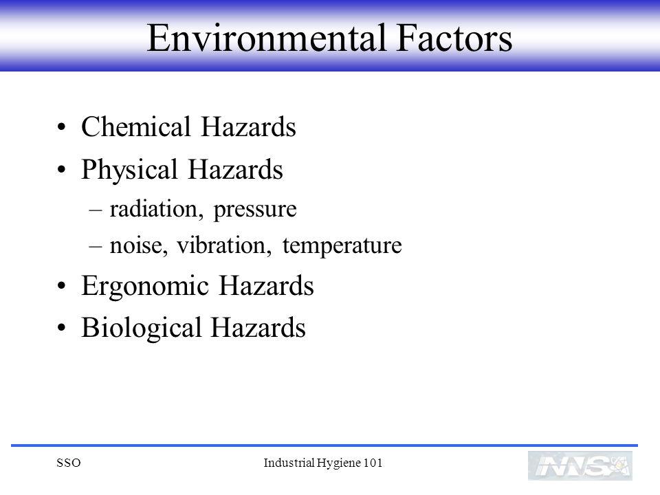 SSOIndustrial Hygiene 101 Environmental Factors Chemical Hazards Physical Hazards –radiation, pressure –noise, vibration, temperature Ergonomic Hazards Biological Hazards