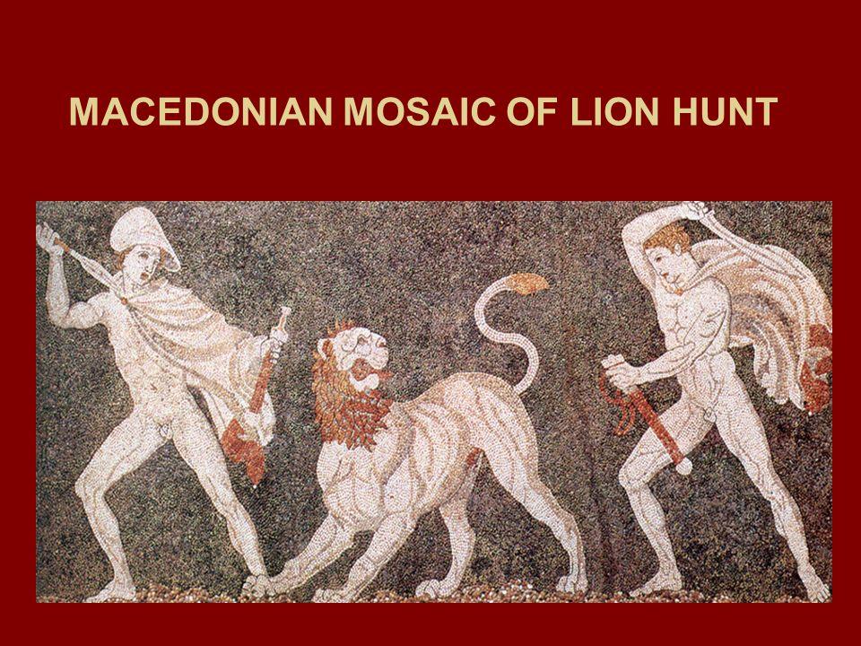 MACEDONIAN MOSAIC OF LION HUNT