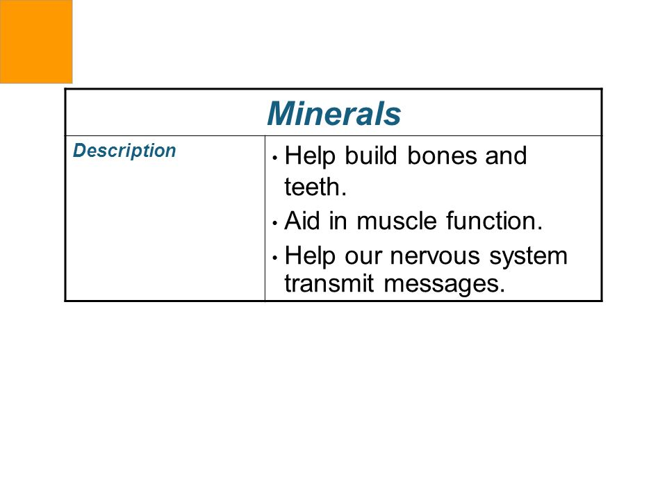 Minerals Description Help build bones and teeth. Aid in muscle function. Help our nervous system transmit messages.
