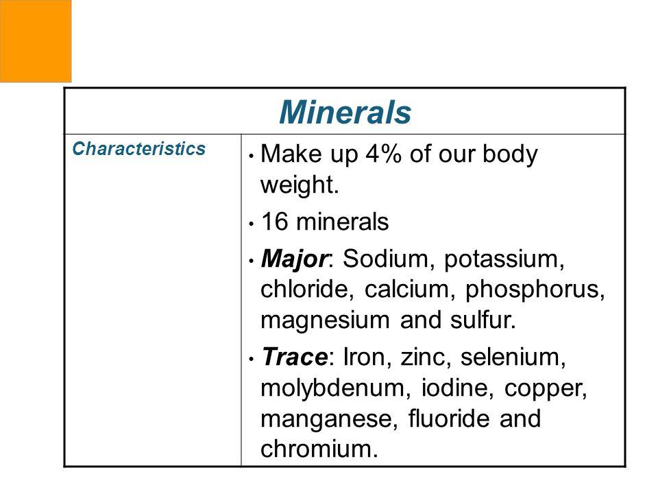 Minerals Characteristics Make up 4% of our body weight. 16 minerals Major: Sodium, potassium, chloride, calcium, phosphorus, magnesium and sulfur. Tra