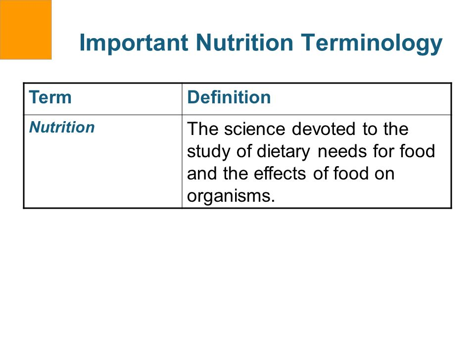 Important Nutrition Terminology TermDefinition Nutrition The science devoted to the study of dietary needs for food and the effects of food on organis