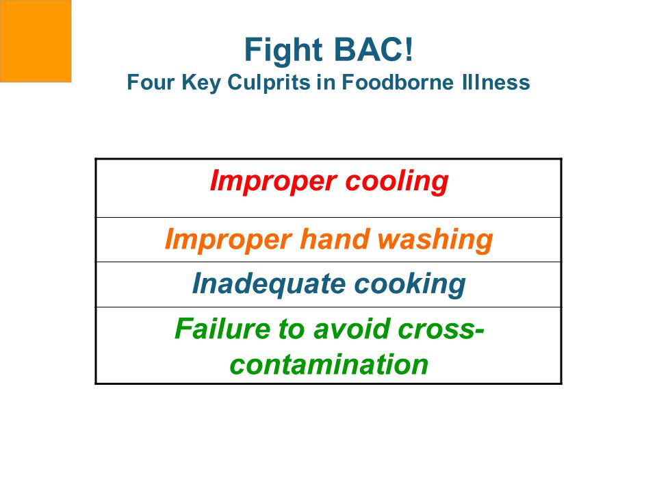Fight BAC! Four Key Culprits in Foodborne Illness Improper cooling Improper hand washing Inadequate cooking Failure to avoid cross- contamination