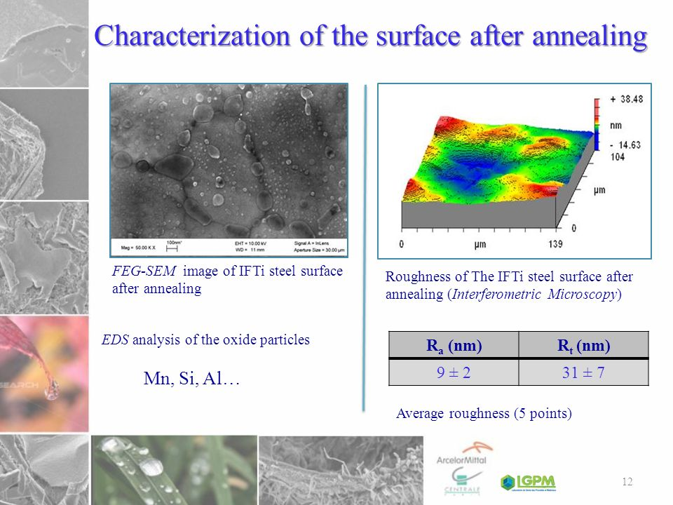 Characterization of the surface after annealing EDS analysis of the oxide particles FEG-SEM image of IFTi steel surface after annealing Roughness of T