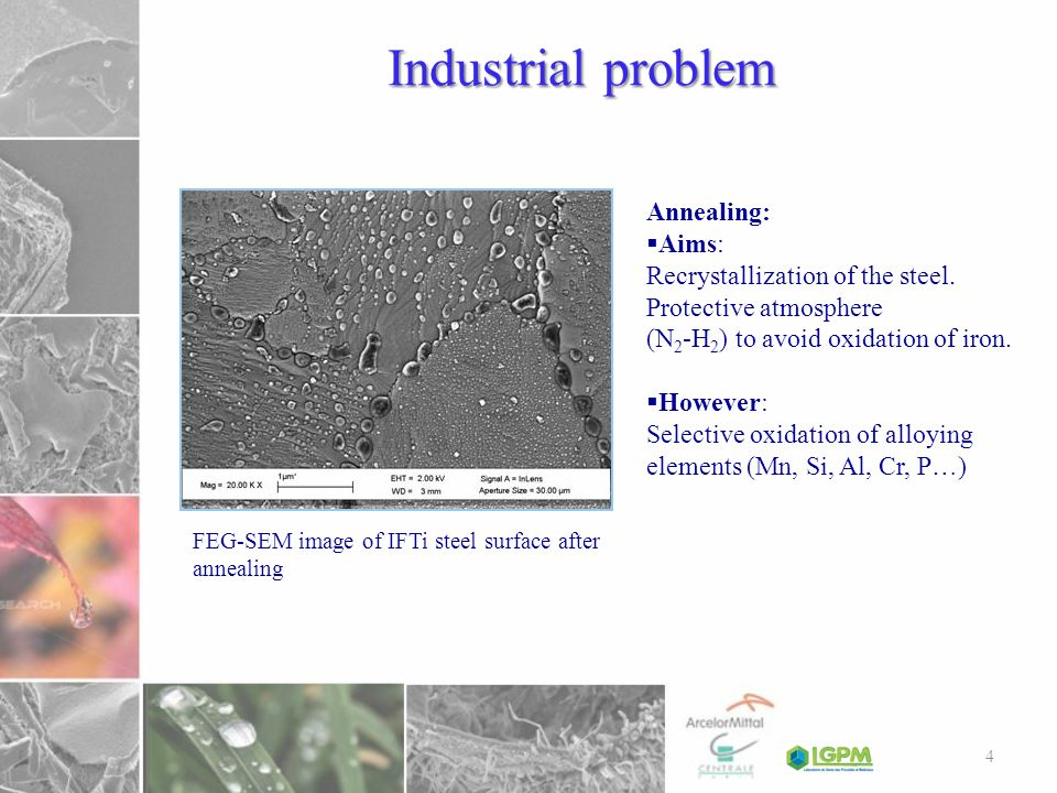Industrial problem FEG-SEM image of IFTi steel surface after annealing Annealing: Aims: Recrystallization of the steel. Protective atmosphere (N 2 -H