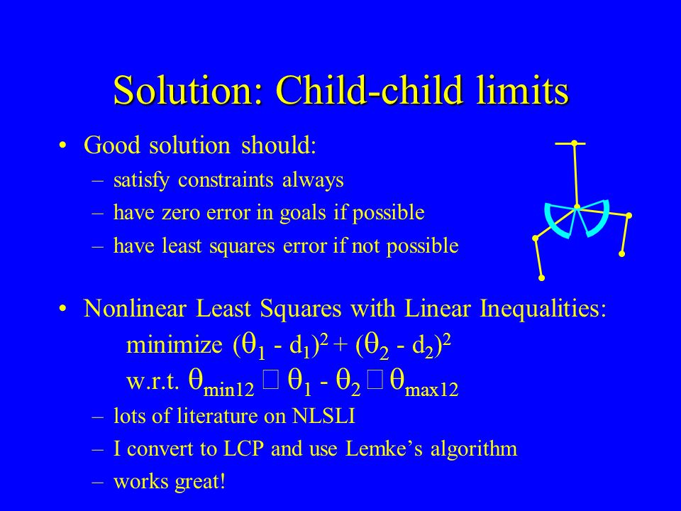 Solution: Child-child limits Good solution should: –satisfy constraints always –have zero error in goals if possible –have least squares error if not