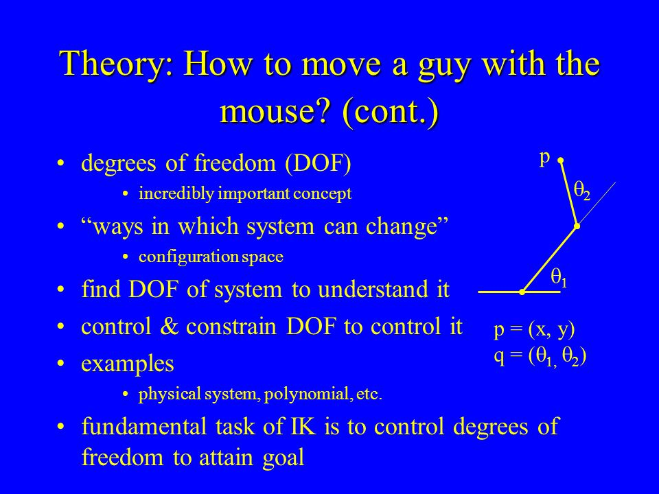 Theory: How to move a guy with the mouse? (cont.) degrees of freedom (DOF) incredibly important concept ways in which system can change configuration
