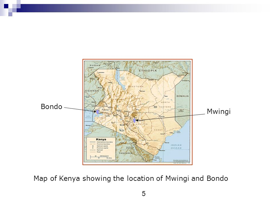 Bondo Mwingi Map of Kenya showing the location of Mwingi and Bondo 5