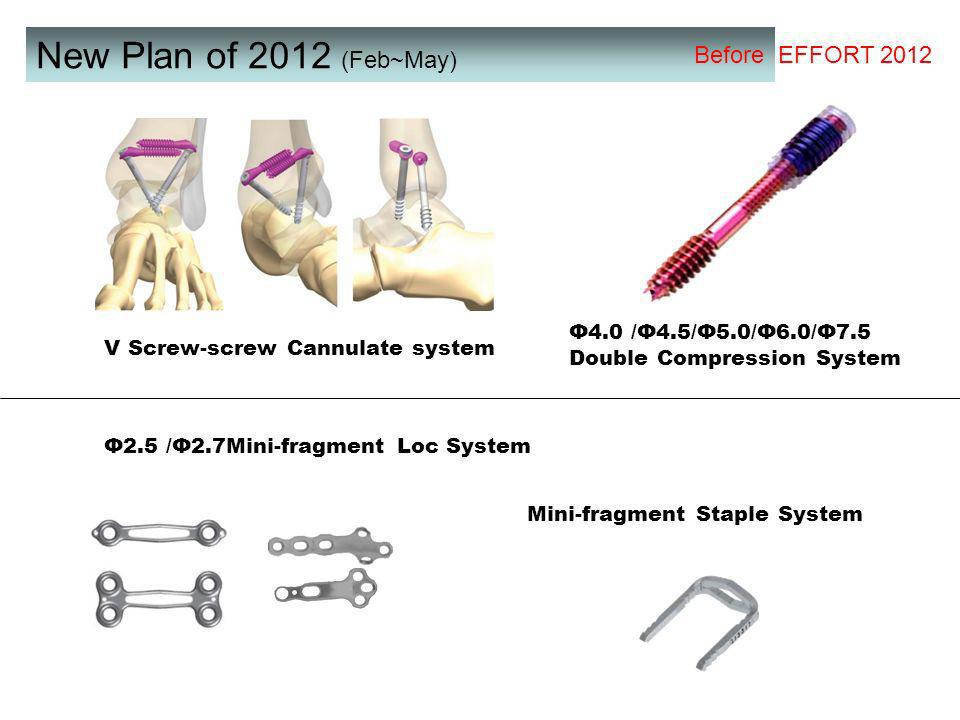New Plan of 2012 (Feb~May) Φ2.5 /Φ2.7Mini-fragment Loc System Mini-fragment Staple System Φ4.0 /Φ4.5/Φ5.0/Φ6.0/Φ7.5 Double Compression System V Screw-screw Cannulate system Before EFFORT 2012