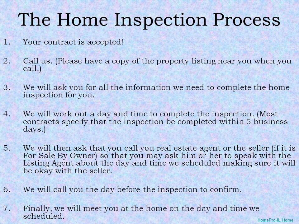 The Home Inspection Process 1.Your contract is accepted.