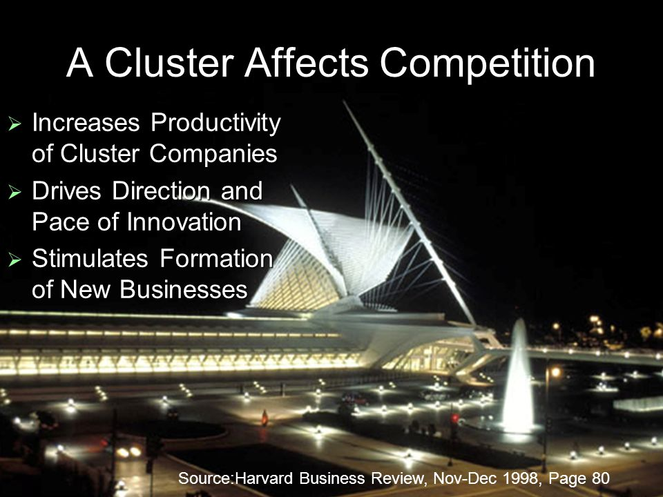 A Cluster Affects Competition Increases Productivity of Cluster Companies Increases Productivity of Cluster Companies Drives Direction and Pace of Inn