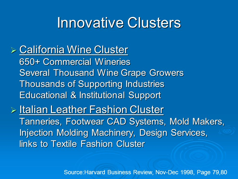 Innovative Clusters California Wine Cluster 650+ Commercial Wineries Several Thousand Wine Grape Growers Thousands of Supporting Industries Educational & Institutional Support California Wine Cluster 650+ Commercial Wineries Several Thousand Wine Grape Growers Thousands of Supporting Industries Educational & Institutional Support Italian Leather Fashion Cluster Tanneries, Footwear CAD Systems, Mold Makers, Injection Molding Machinery, Design Services, links to Textile Fashion Cluster Italian Leather Fashion Cluster Tanneries, Footwear CAD Systems, Mold Makers, Injection Molding Machinery, Design Services, links to Textile Fashion Cluster Source:Harvard Business Review, Nov-Dec 1998, Page 79,80