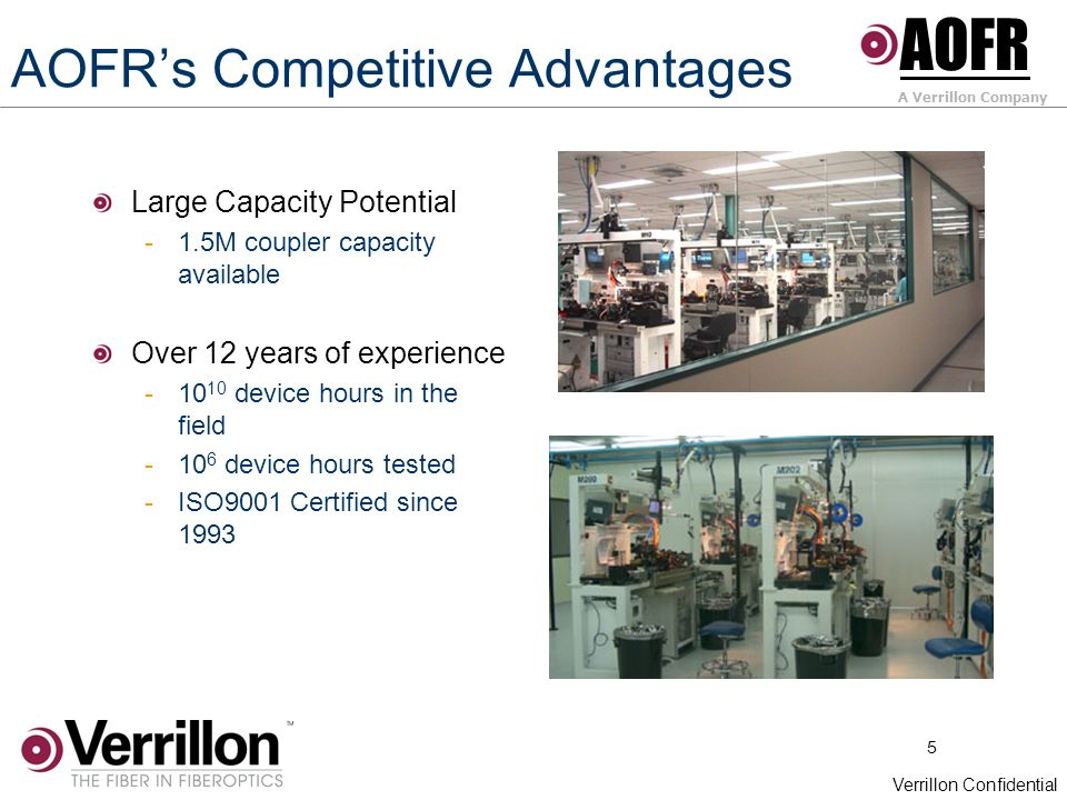 5 Verrillon Confidential AOFRs Competitive Advantages Large Capacity Potential -1.5M coupler capacity available Over 12 years of experience -10 10 device hours in the field -10 6 device hours tested -ISO9001 Certified since 1993 AOFR A Verrillon Company