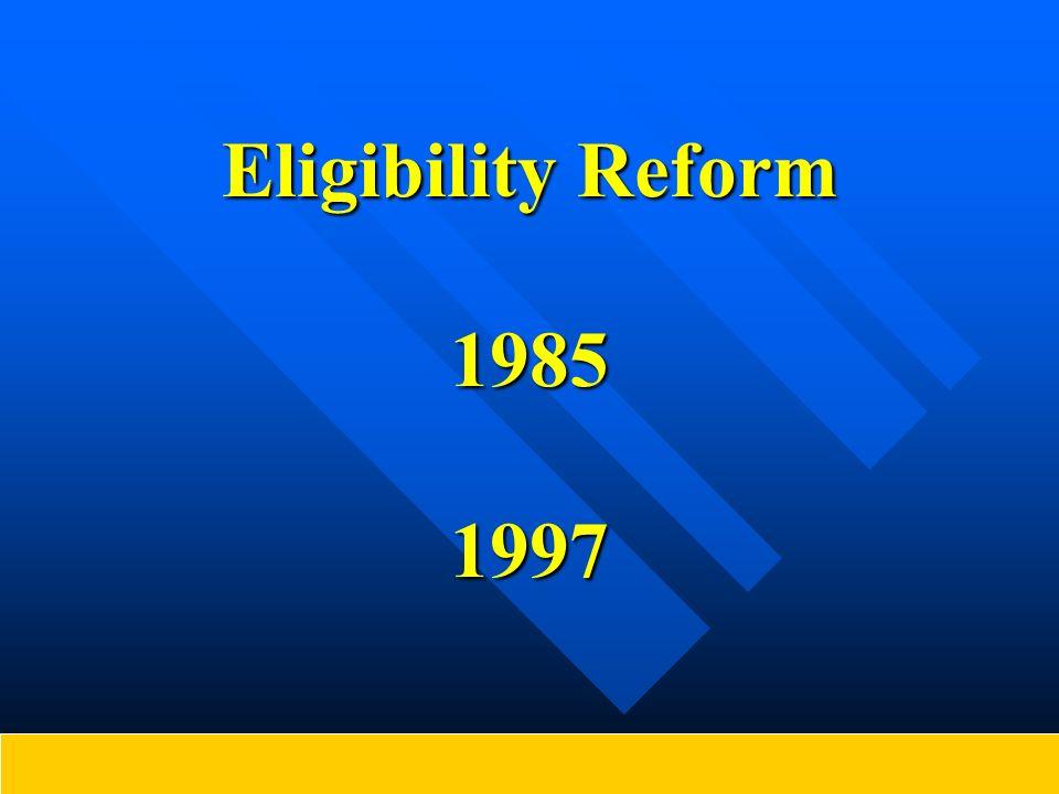 Eligibility Reform 1985 1997