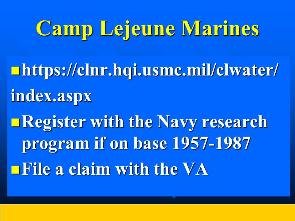 National Research Council The National Academy of Sciences National Research Council published its Contaminated Water Supplies at Camp Lejeune, Assessing Potential Health Effects, in 2009.