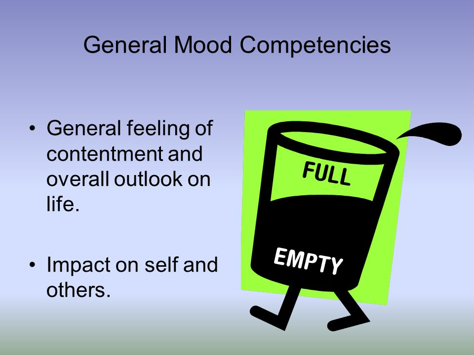General Mood Competencies General feeling of contentment and overall outlook on life. Impact on self and others.