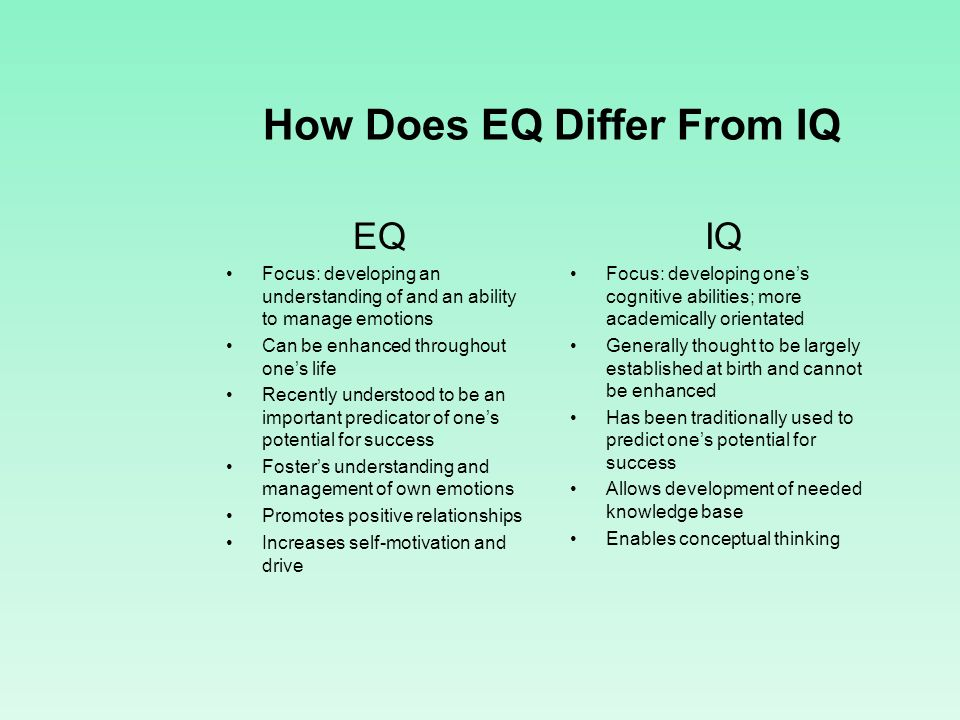 How Does EQ Differ From IQ EQ Focus: developing an understanding of and an ability to manage emotions Can be enhanced throughout ones life Recently un