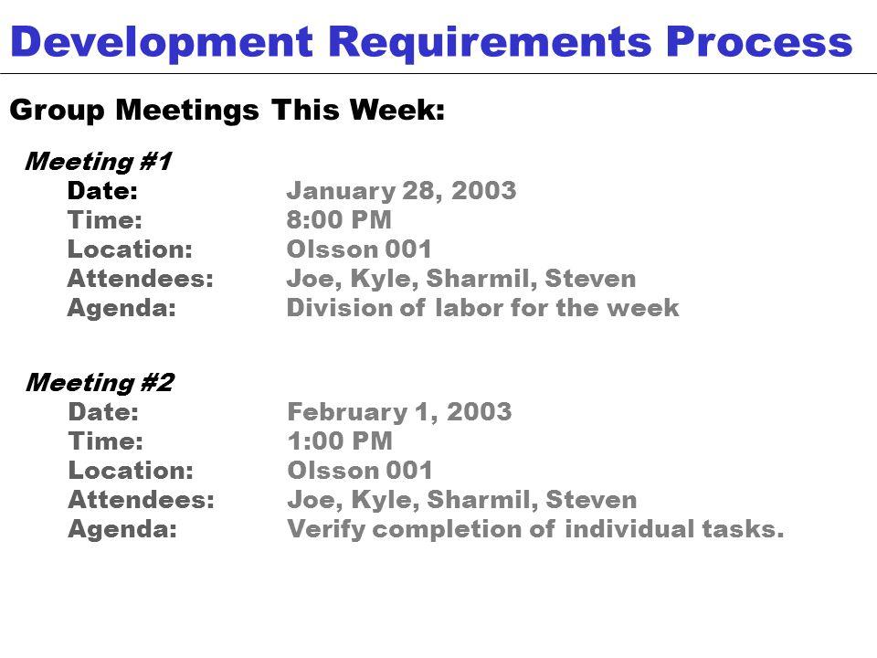 Development Requirements Process (contd.) This Weeks Tasks: Joe : Risk documentation, management report, partner group meeting.