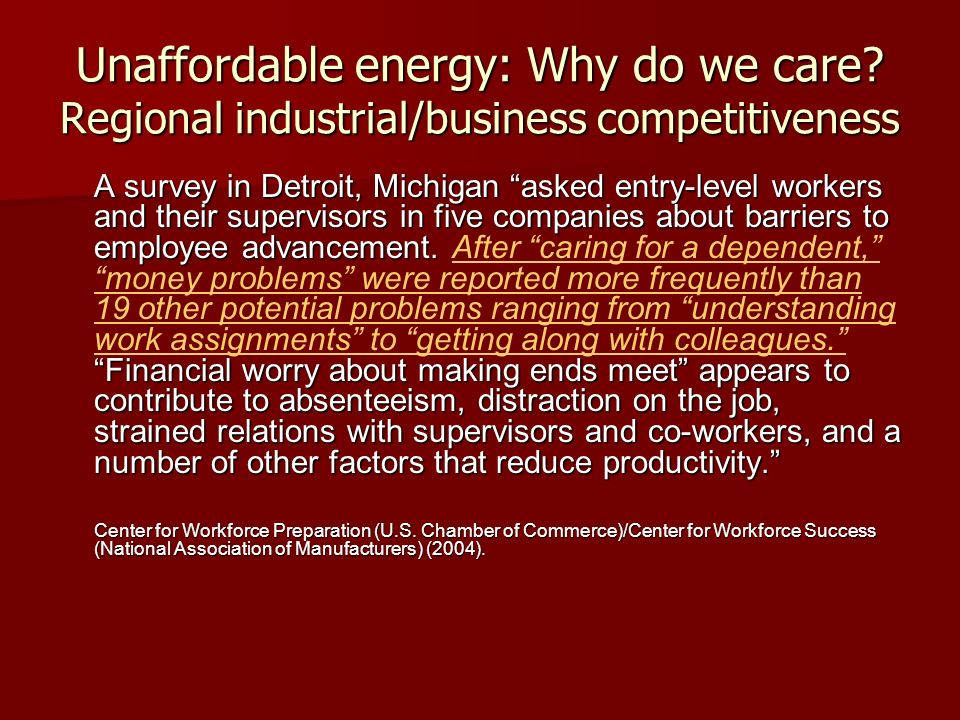 Unaffordable energy: Why do we care? Regional industrial/business competitiveness A survey in Detroit, Michigan asked entry-level workers and their su