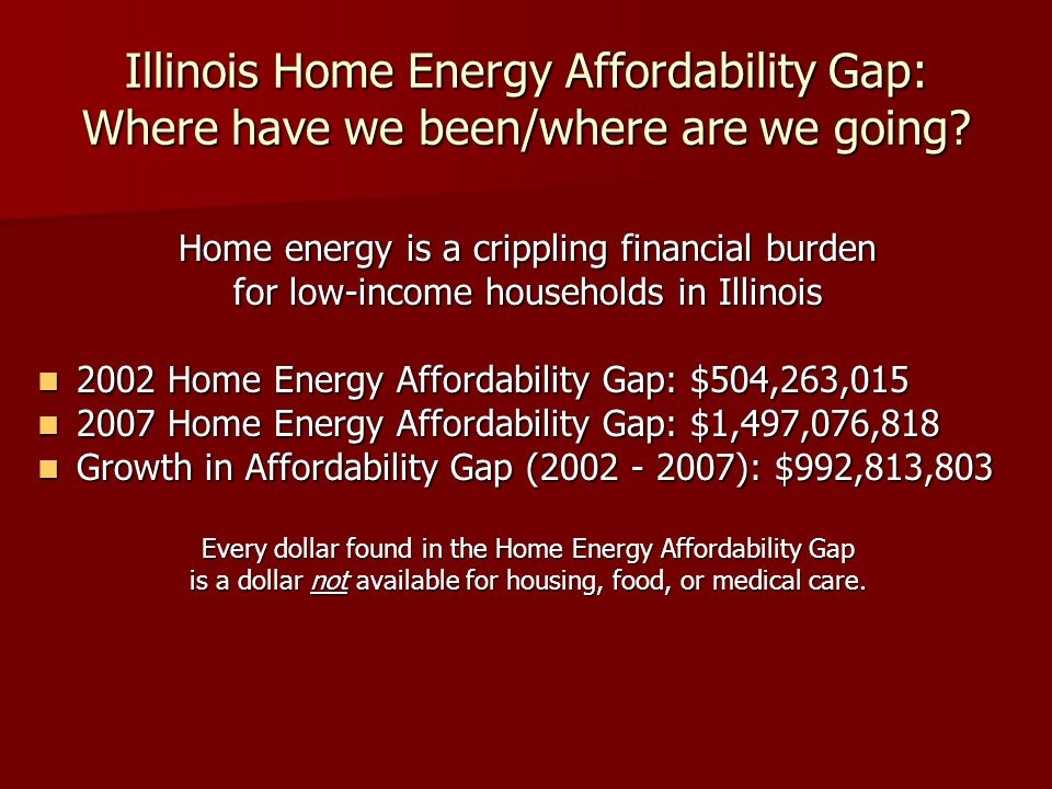 Illinois Home Energy Affordability Gap: Where have we been/where are we going? Home energy is a crippling financial burden for low-income households i