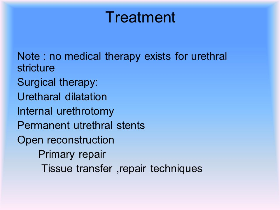 treatment medical local measures to soften the scab and alkalinization of urine. Meatotomy