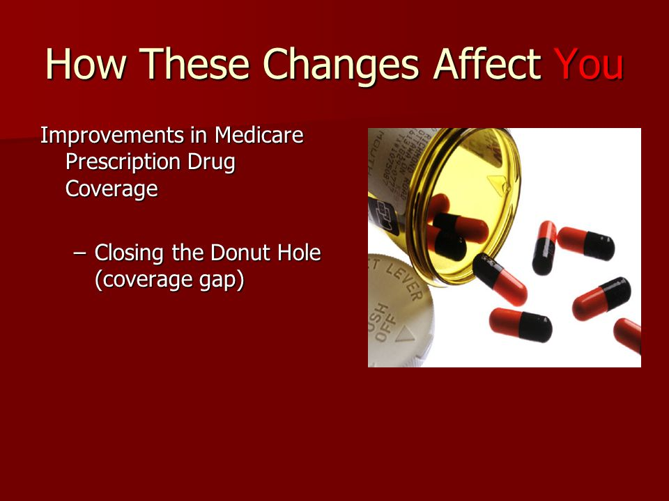 How These Changes Affect You Improvements in Medicare Prescription Drug Coverage –Closing the Donut Hole (coverage gap)