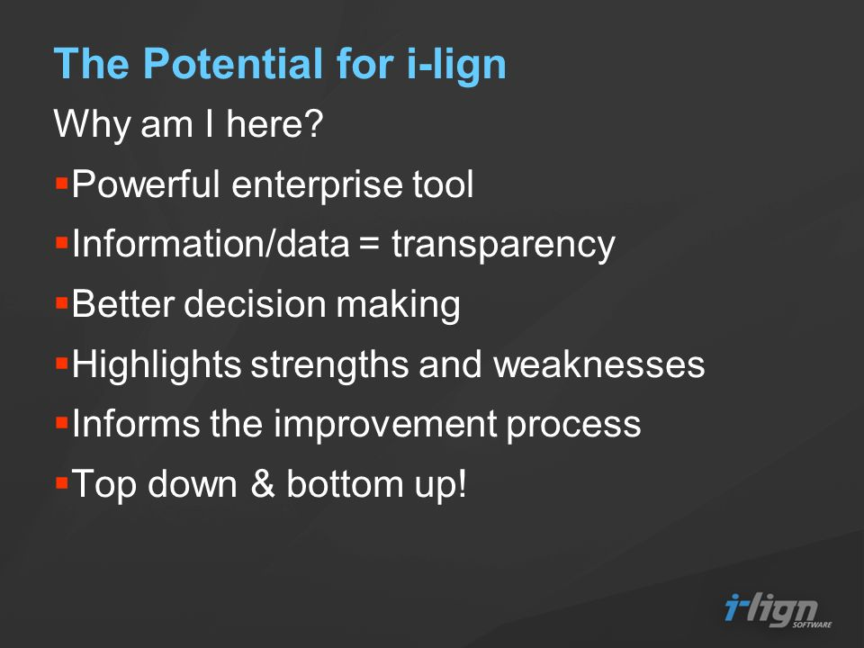 The Potential for i-lign Why am I here.