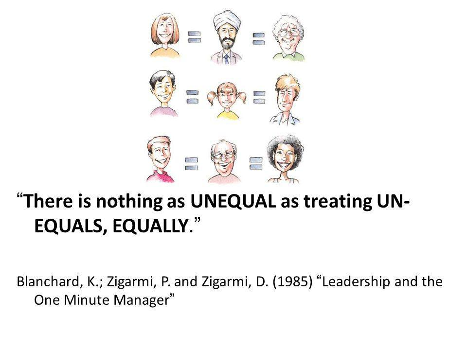 There is nothing as UNEQUAL as treating UN- EQUALS, EQUALLY.
