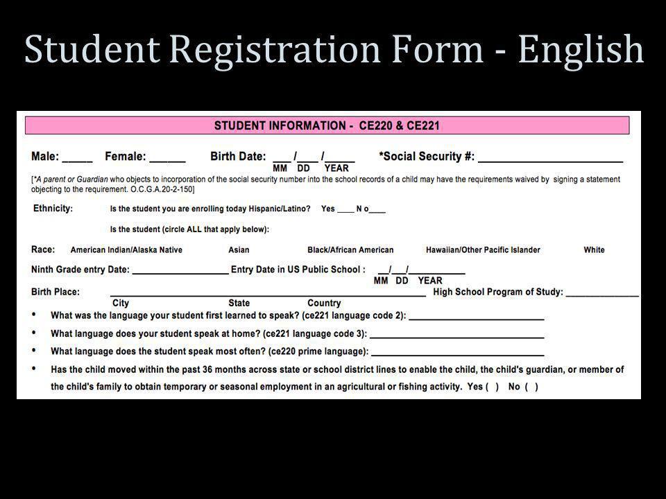 Student Registration Form - English