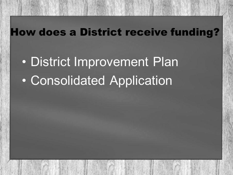 How does a District receive funding District Improvement Plan Consolidated Application