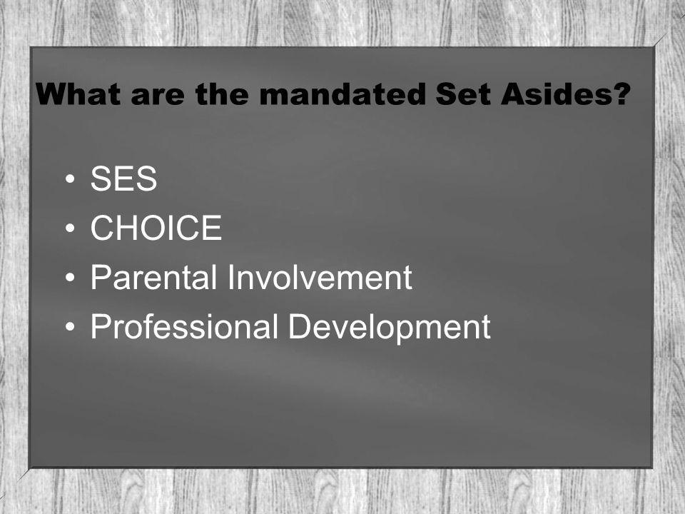What are the mandated Set Asides SES CHOICE Parental Involvement Professional Development