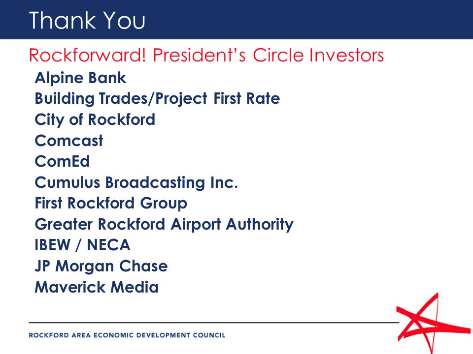 Thank You Rockforward! Presidents Circle Investors Alpine Bank Building Trades/Project First Rate City of Rockford Comcast ComEd Cumulus Broadcasting