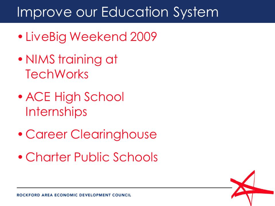 Improve our Education System LiveBig Weekend 2009 NIMS training at TechWorks ACE High School Internships Career Clearinghouse Charter Public Schools