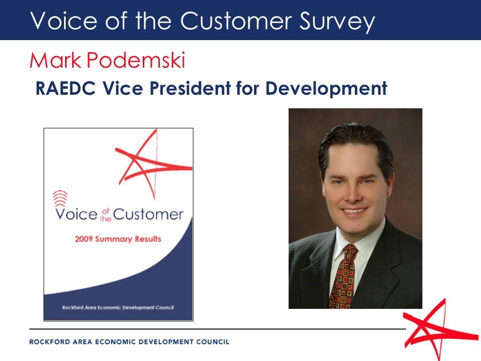 Voice of the Customer Survey Mark Podemski RAEDC Vice President for Development