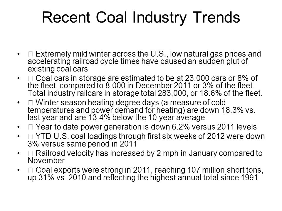 Recent Coal Industry Trends Extremely mild winter across the U.S., low natural gas prices and accelerating railroad cycle times have caused an sudden glut of existing coal cars Coal cars in storage are estimated to be at 23,000 cars or 8% of the fleet, compared to 8,000 in December 2011 or 3% of the fleet.