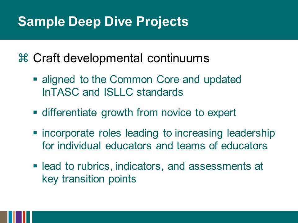 Sample Deep Dive Projects Craft developmental continuums aligned to the Common Core and updated InTASC and ISLLC standards differentiate growth from n
