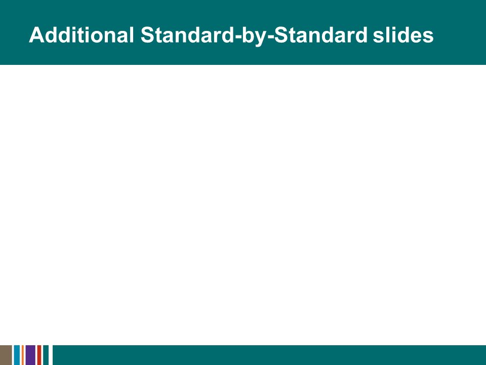 Additional Standard-by-Standard slides