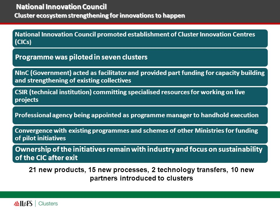 National Innovation Council promoted establishment of Cluster Innovation Centres (CICs ) Programme was piloted in seven clusters NInC (Government) act