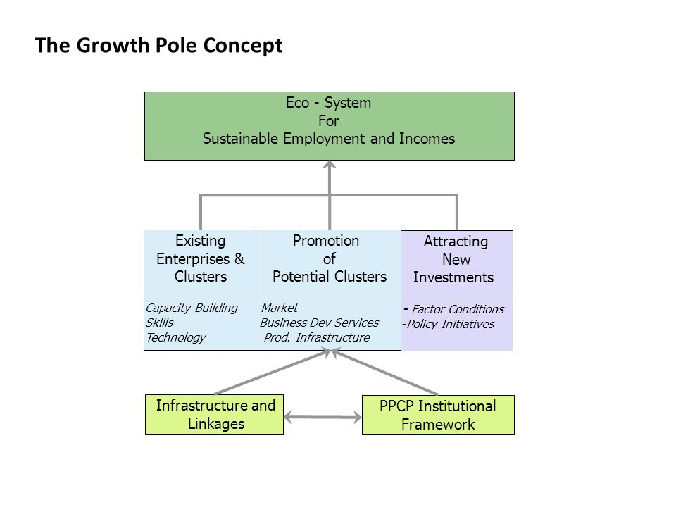 The Growth Pole Concept Eco - System For Sustainable Employment and Incomes Existing Enterprises & Clusters Promotion of Potential Clusters Attracting