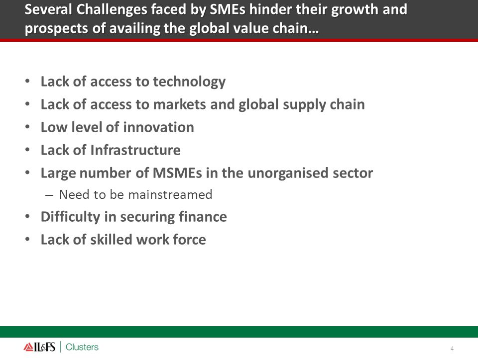 Lack of access to technology Lack of access to markets and global supply chain Low level of innovation Lack of Infrastructure Large number of MSMEs in