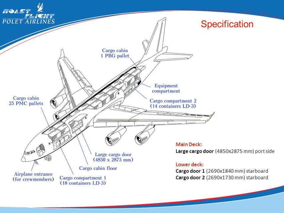 Specification Main Deck: Large cargo door (4850x2875 mm) port side Lower deck: Cargo door 1 (2690x1840 mm) starboard Cargo door 2 (2690x1730 mm) starb