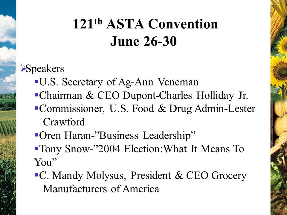 121 th ASTA Convention June 26-30 Speakers U.S. Secretary of Ag-Ann Veneman Chairman & CEO Dupont-Charles Holliday Jr. Commissioner, U.S. Food & Drug
