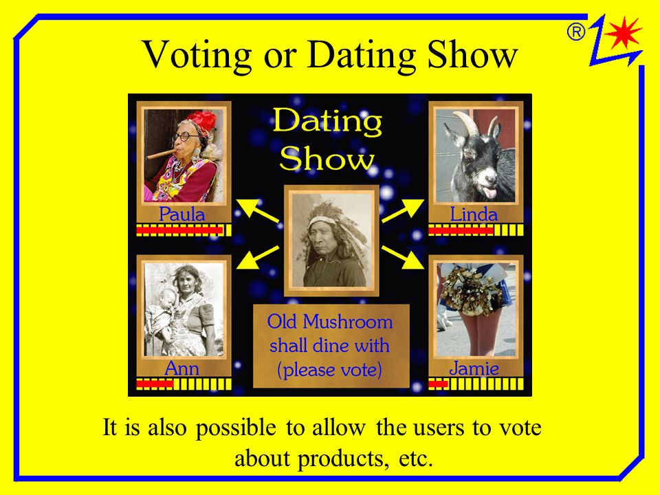 Voting or Dating Show It is also possible to allow the users to vote about products, etc.