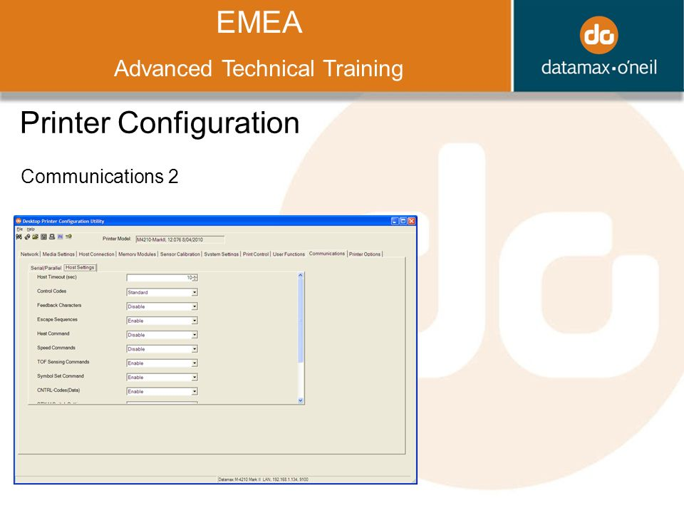 Title EMEA Advanced Technical Training Printer Configuration Communications 2
