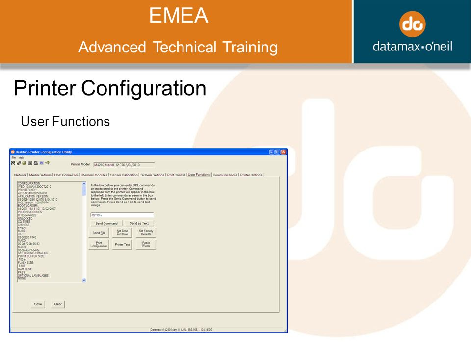 Title EMEA Advanced Technical Training Printer Configuration User Functions