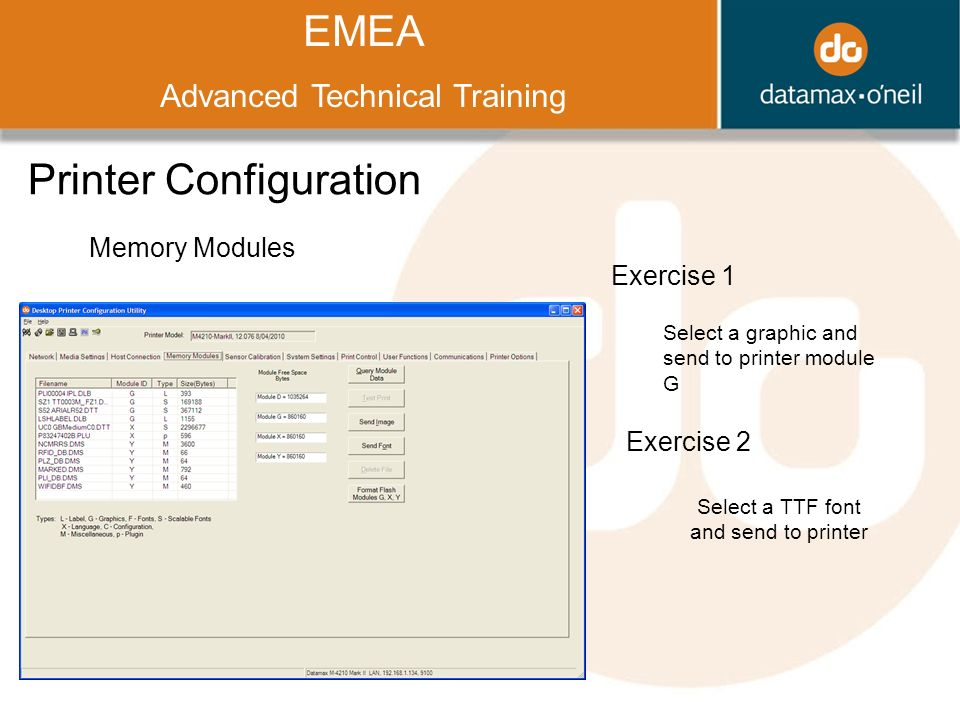 Title EMEA Advanced Technical Training Printer Configuration Memory Modules Exercise 1 Select a graphic and send to printer module G Exercise 2 Select a TTF font and send to printer