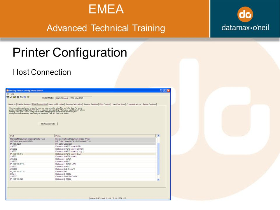 Title EMEA Advanced Technical Training Printer Configuration Host Connection