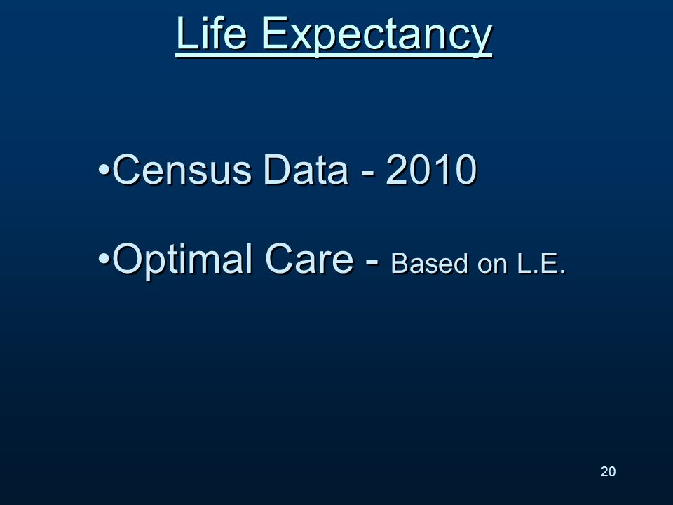 Life Expectancy Census Data - 2010 Optimal Care - Based on L.E. Census Data - 2010 Optimal Care - Based on L.E. 20