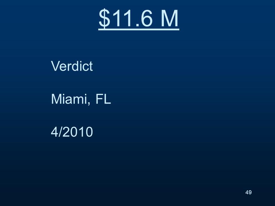 Verdict Miami, FL 4/2010 $11.6 M 49
