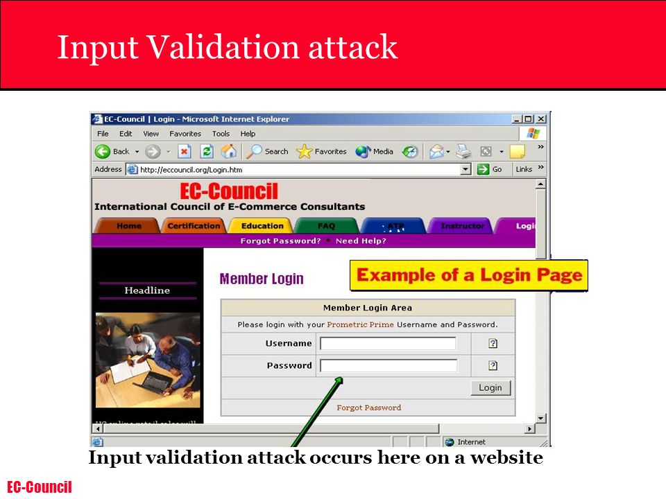 EC-Council Input Validation attack Input validation attack occurs here on a website