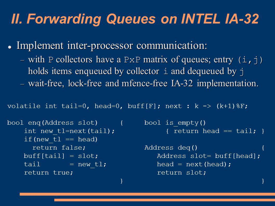 II. Forwarding Queues on INTEL IA-32 Implement inter-processor communication: Implement inter-processor communication: with P collectors have a PxP ma